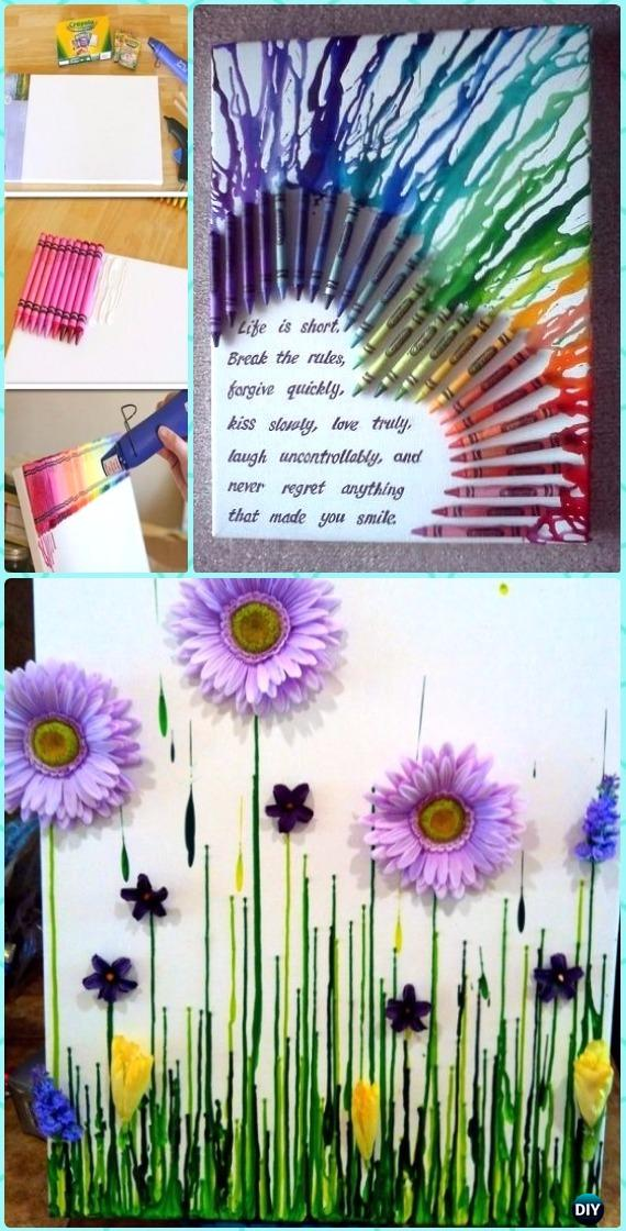 DIY Half Heart Crayon Melting Canvas Wall Art Instruction - DIY Canvas Wall Art Ideas Tutorials