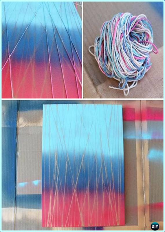 DIY Ombre String Pattern Canvas Wall Art Instruction - DIY Canvas Wall Art Ideas Tutorials