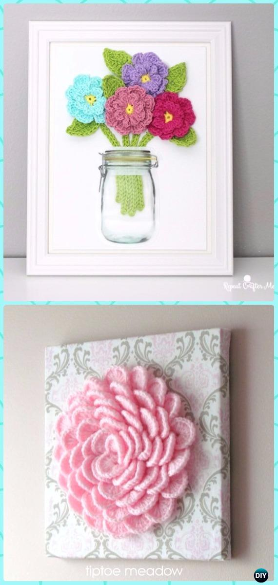 DIY Crochet Flower Canvas Wall Art Instruction   DIY Canvas Wall Art Ideas  Tutorials