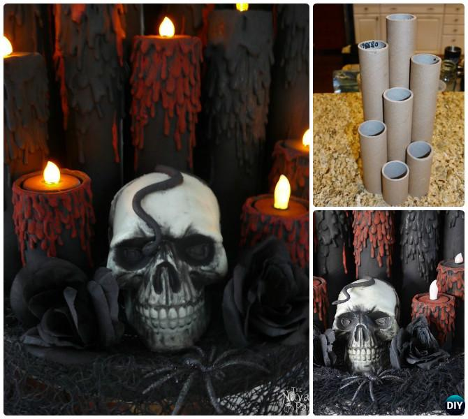 DIY Halloween Cardboard Tube Blood Candle Craft Projects with Instruction