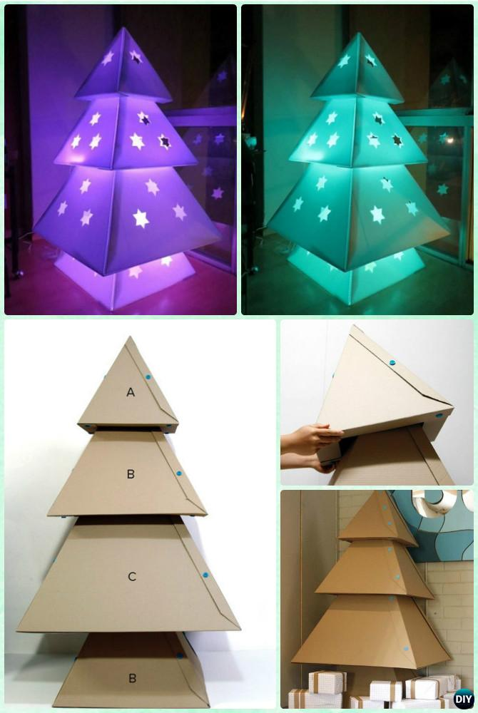 DIY Lighted Cardboard Christmas Tree Lights Instruction -DIY Christmas Lights Ideas Crafts