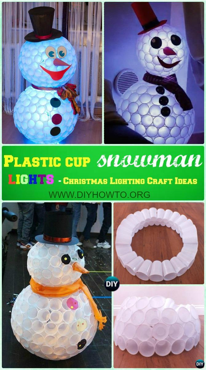 DIY Plastic Cup Snowman Lights Instruction -DIY Christmas Lights Ideas Crafts