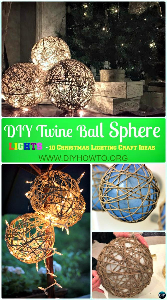 DIY Twine Sphere Ball Lights Instruction -DIY Christmas Lights Ideas Crafts  sc 1 st  DIY How To : diy outdoor christmas decorating ideas - www.pureclipart.com