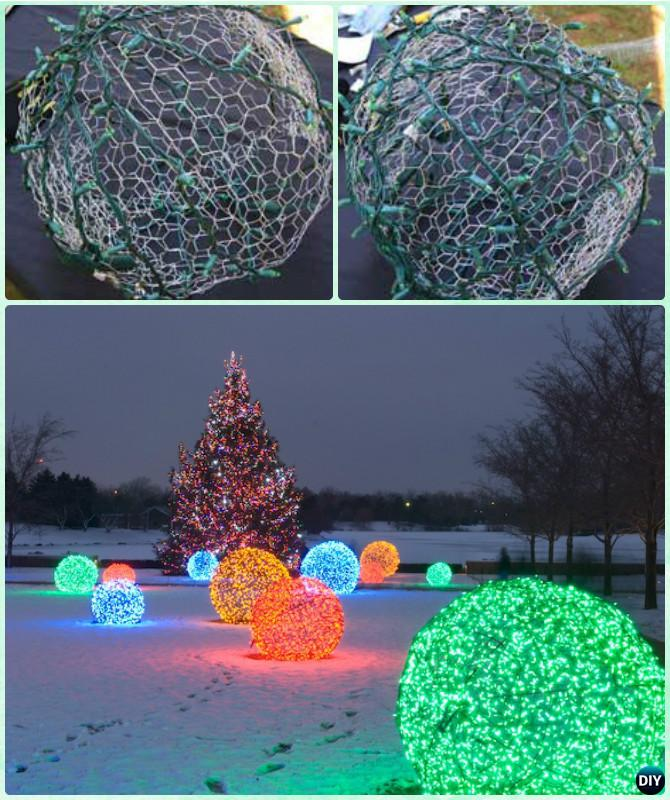 diy chicken wire string lights christmas ball light instruction diy christmas lights ideas crafts