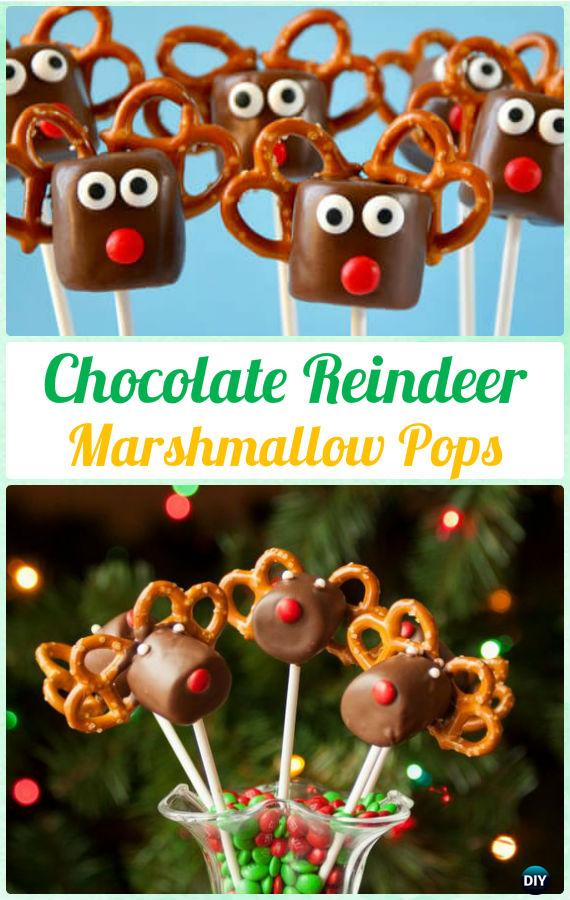 DIY Chocolate Reindeer Marshmallow Pops Instructions-DIY Christmas Marshmallow Pop Ideas Recipes