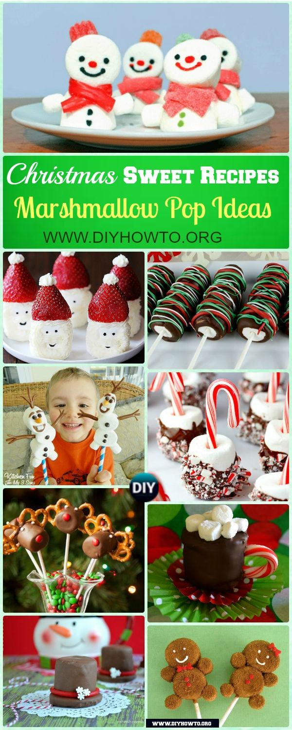 Festive Christmas Marshmallow Pop Ideas Recipes in colored sprinkles, Snowman, Ginger bread man, Santa and more holiday themed characters.
