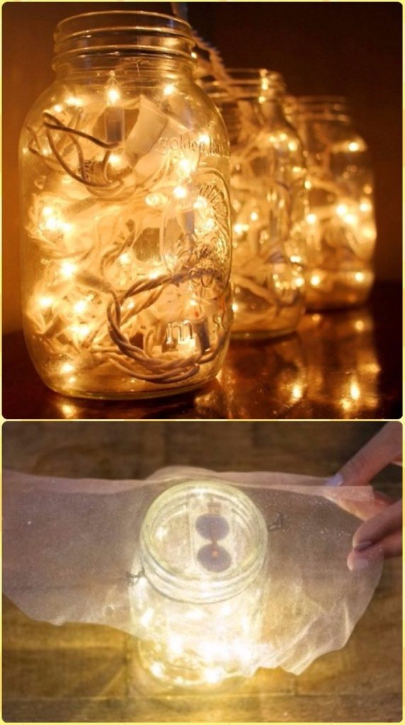 DIY Hanging Mason Jar Mason Jar Fairy Lights Instruction -DIY Christmas Mason Jar Lighting Craft Ideas