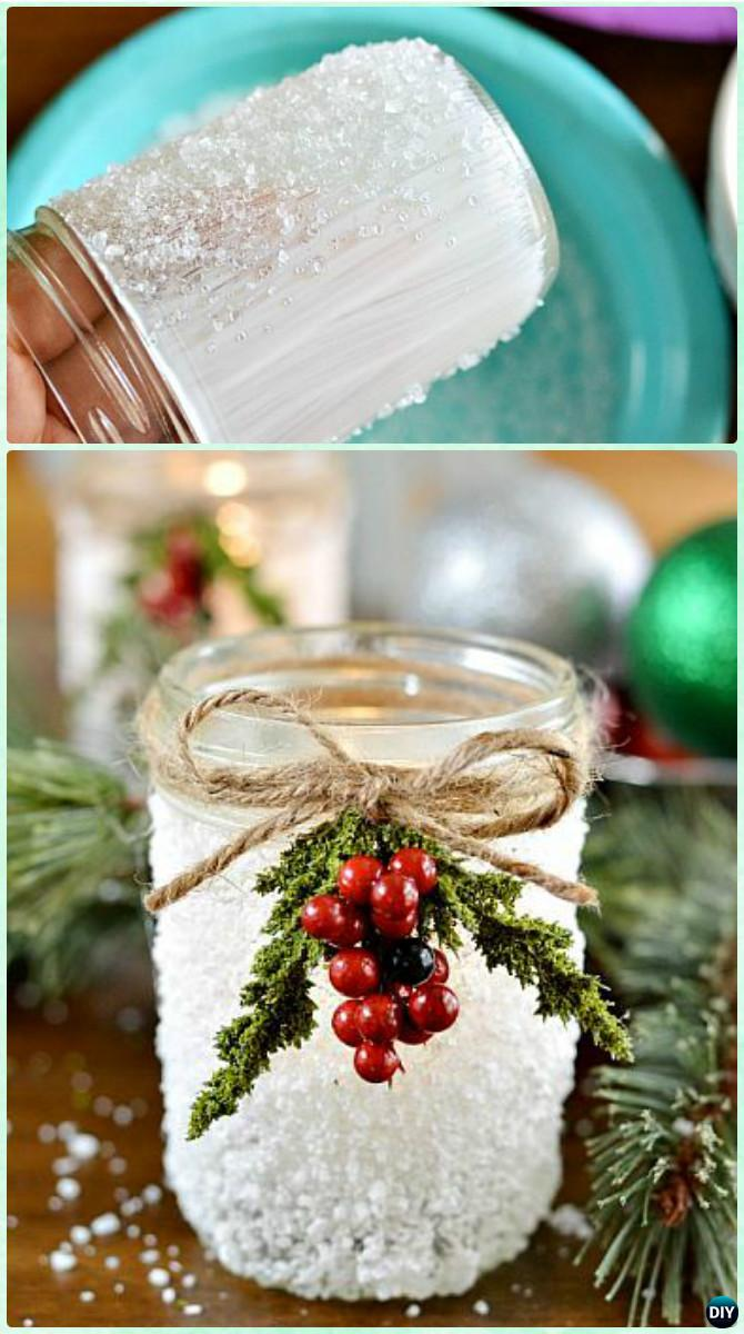 DIY Epsom Salt Snowy Mason Jar Instruction Christmas Lighting Craft Ideas