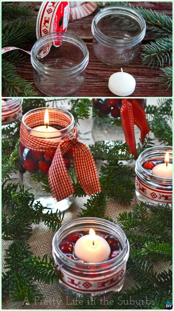 DIY Christms Holiday Mason Jar Floating Candle Centerpiece Instruction -DIY Christmas Mason Jar Lighting Craft Ideas