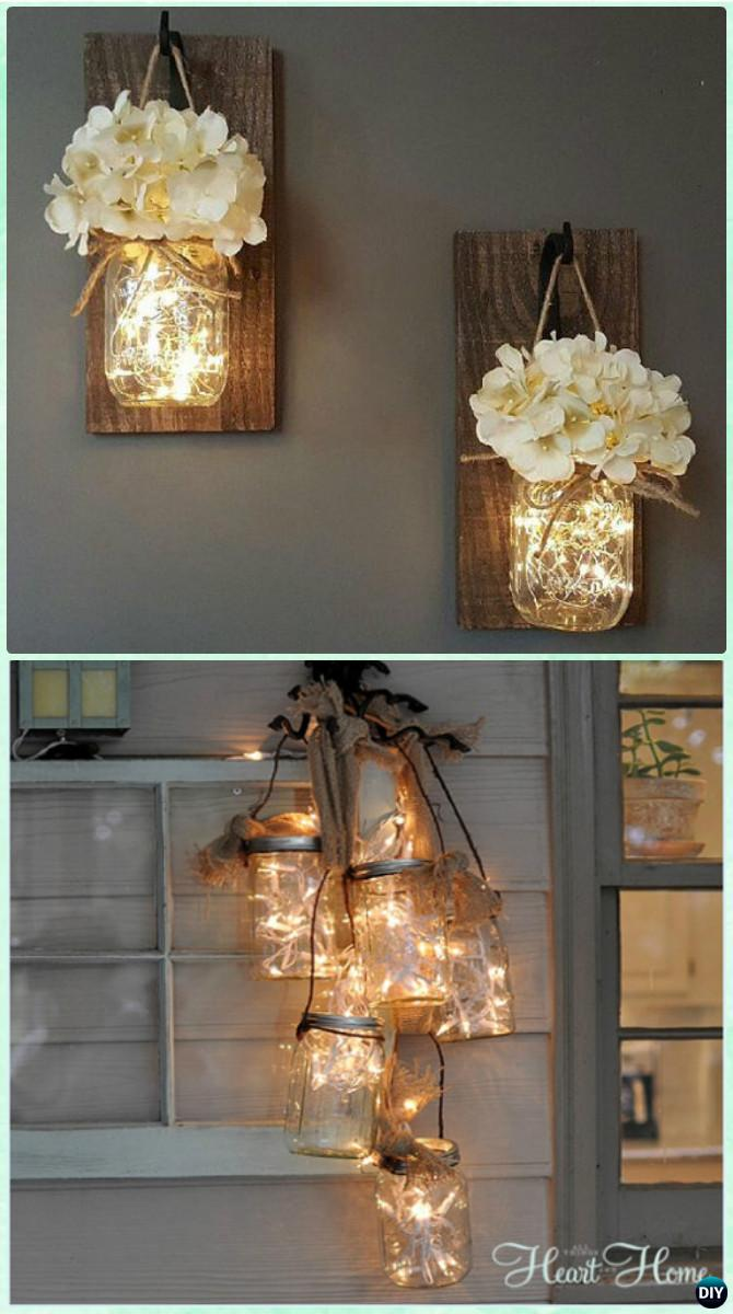 lighting diy. DIY Hanging Mason Jar String Lights Instruction -DIY Christmas Lighting Craft Ideas Diy