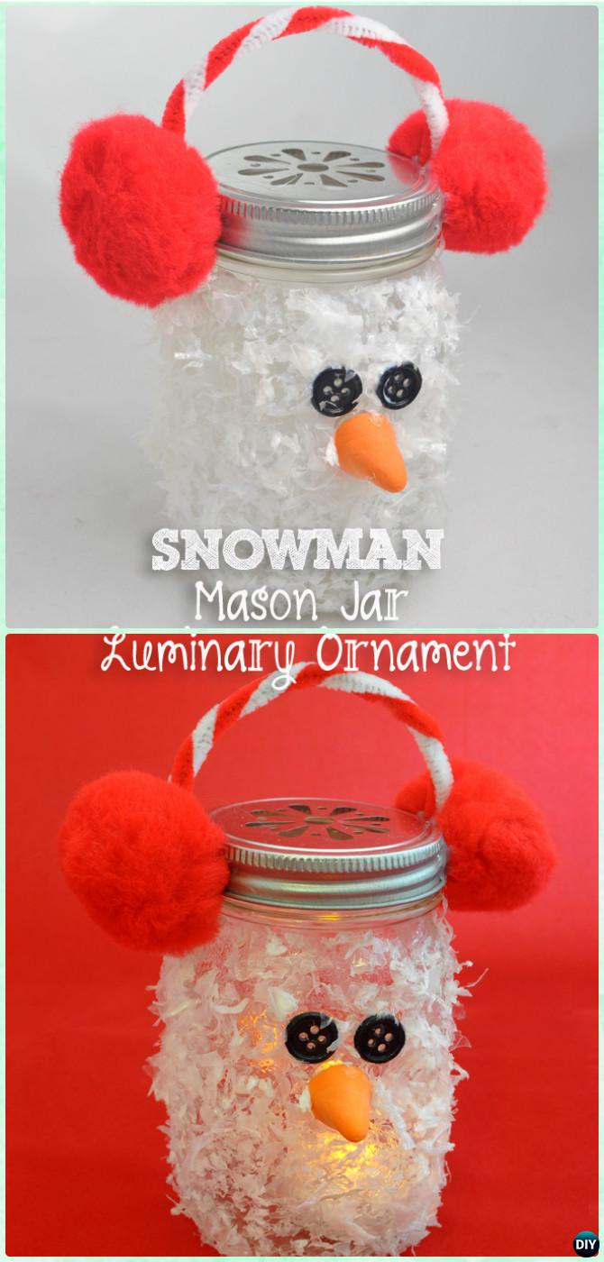 DIY Mason Jar Snowman Luminary Lights Instruction -DIY Christmas Mason Jar Lighting Craft Ideas
