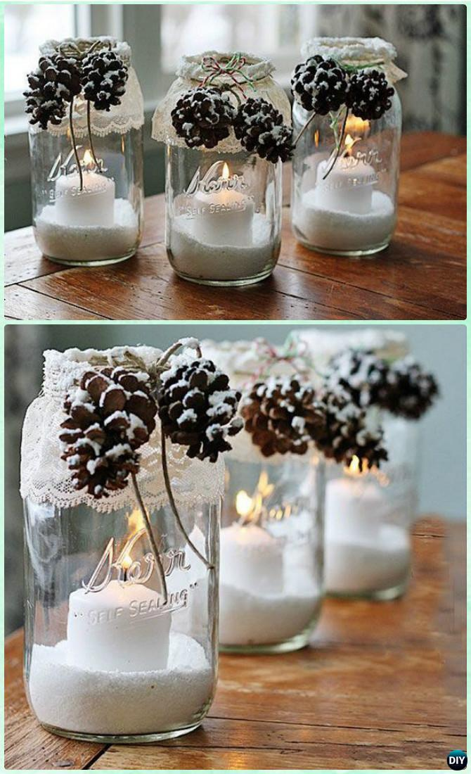 DIY Snowy Pinecone Candle Mason Jar Lights Instruction -DIY Christmas Mason Jar Lighting Craft Ideas