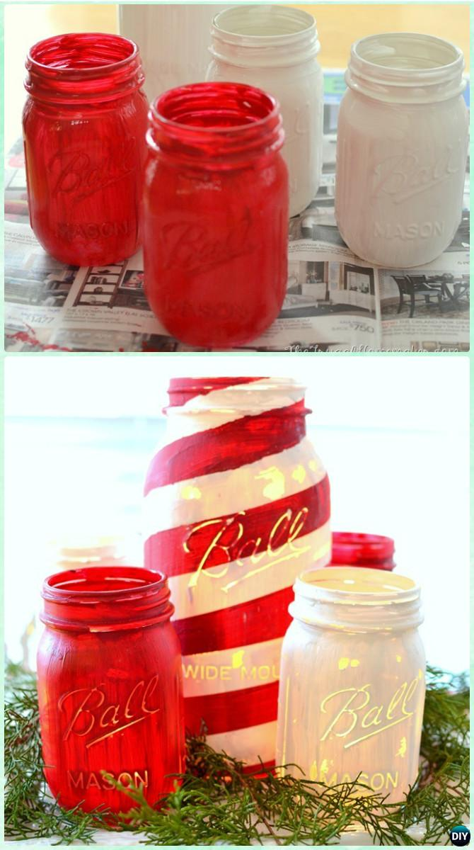 DIY Chalky Painted Mason Jar Candy Cane Christmas Lights Instruction -DIY Christmas Mason Jar Lighting Craft Ideas