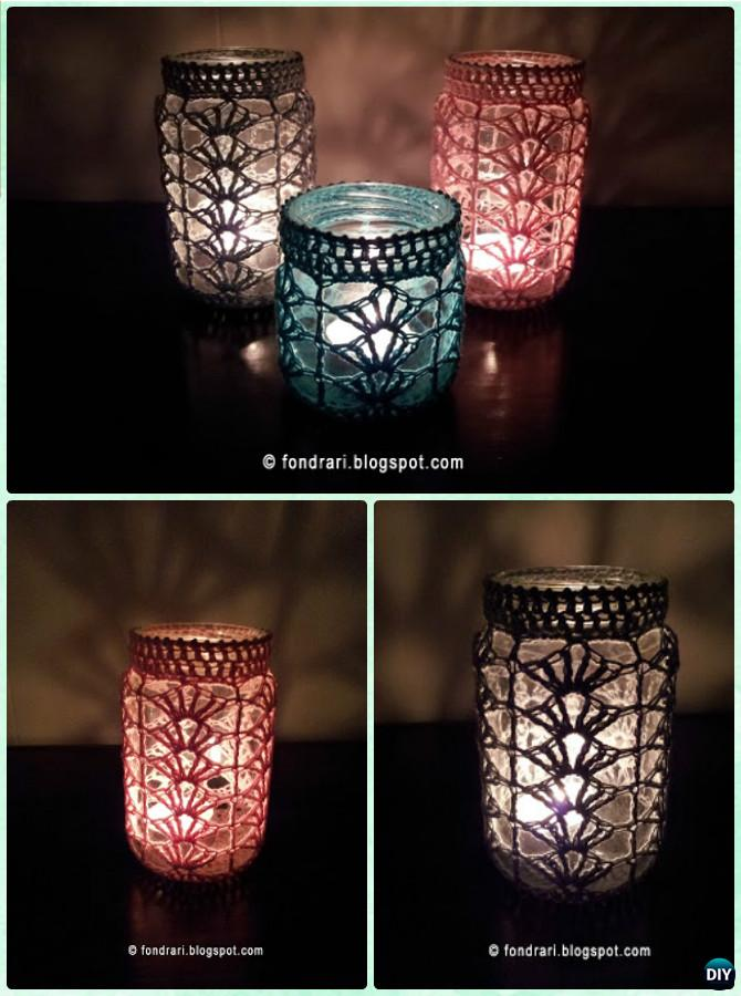 DIY Crochet Lacy Shell Stitch Mason Jar Lights Instruction -DIY Christmas Mason  Jar Lighting Craft