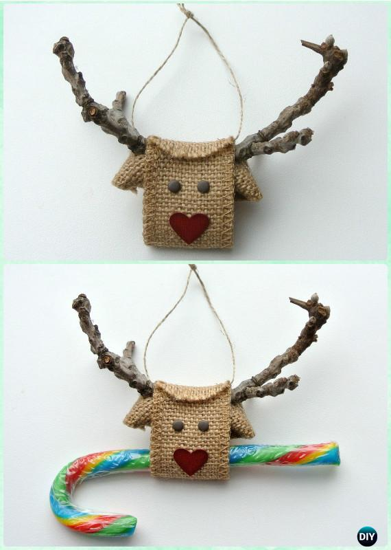 Ornament Craft Ideas For Kids Part - 49: DIY Tree Branch Burlap Ornament Instruction-DIY Christmas Ornament Craft  Ideas For Kids