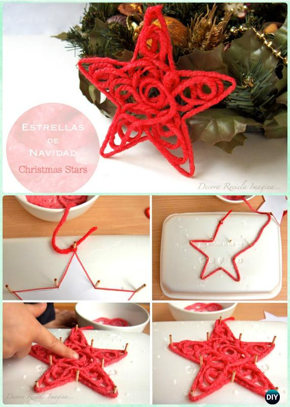 Ornament Craft Ideas For Kids Part - 43: DIY Yarn Star Ornament Instruction-DIY Christmas Ornament Craft Ideas For  Kids