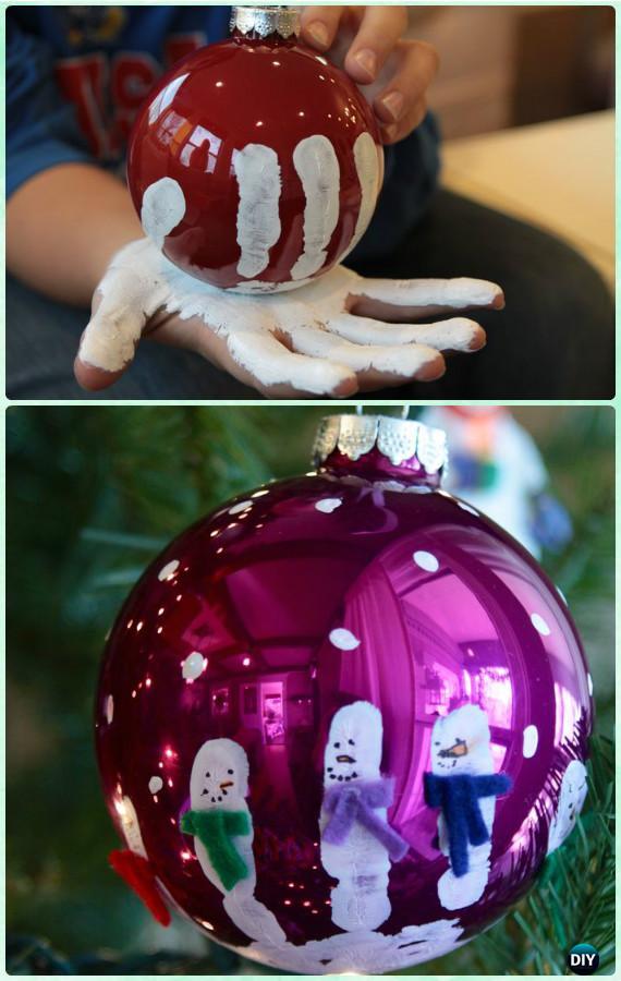 DIY Handprint Snowman Ornament Instruction-DIY Christmas Ornament Craft Ideas For Kids