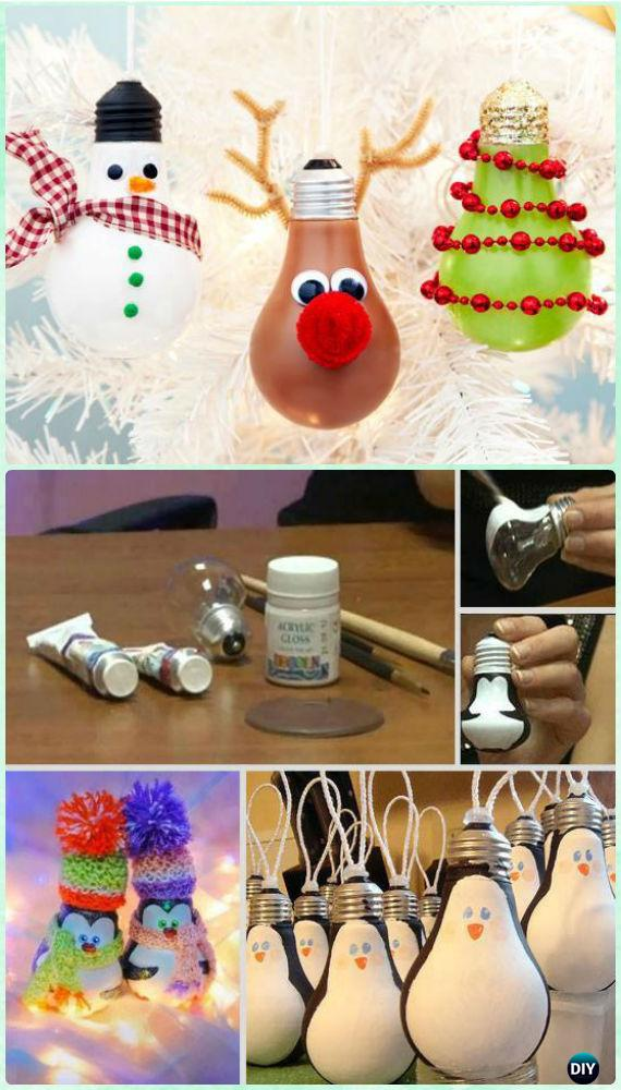 DIY Light Bulb Christmas Ornament Instruction Craft Ideas For Kids
