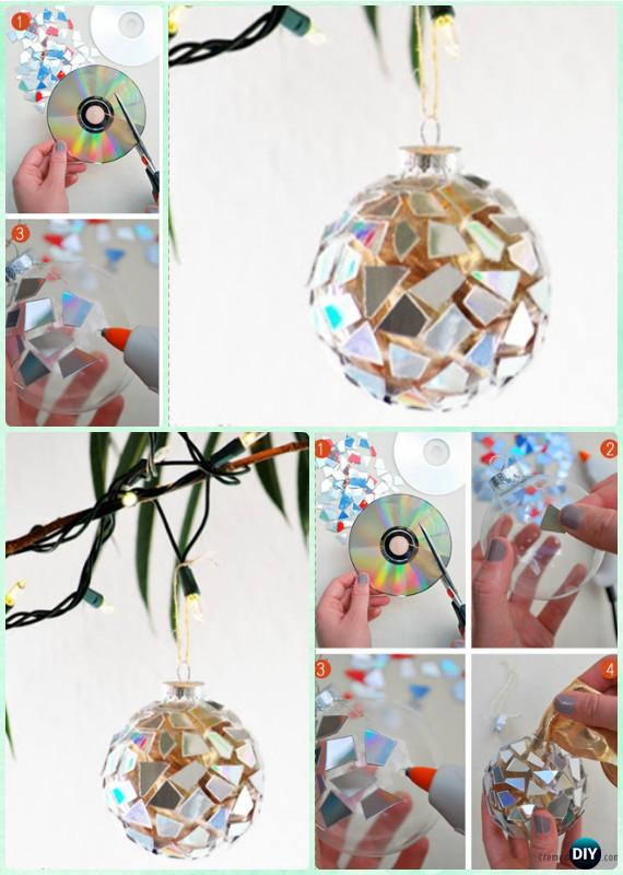 DIY CD Mosaic Ornaments Instruction-DIY Christmas Ornament Craft Ideas For Kids