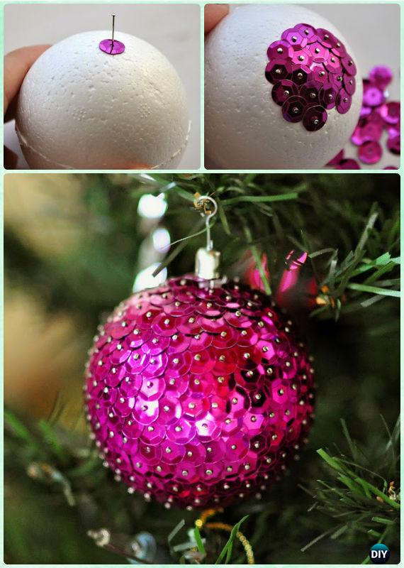 DIY Styrofoam Sequin Ball Ornament Instruction-DIY Christmas Ornament Craft Ideas For Kids