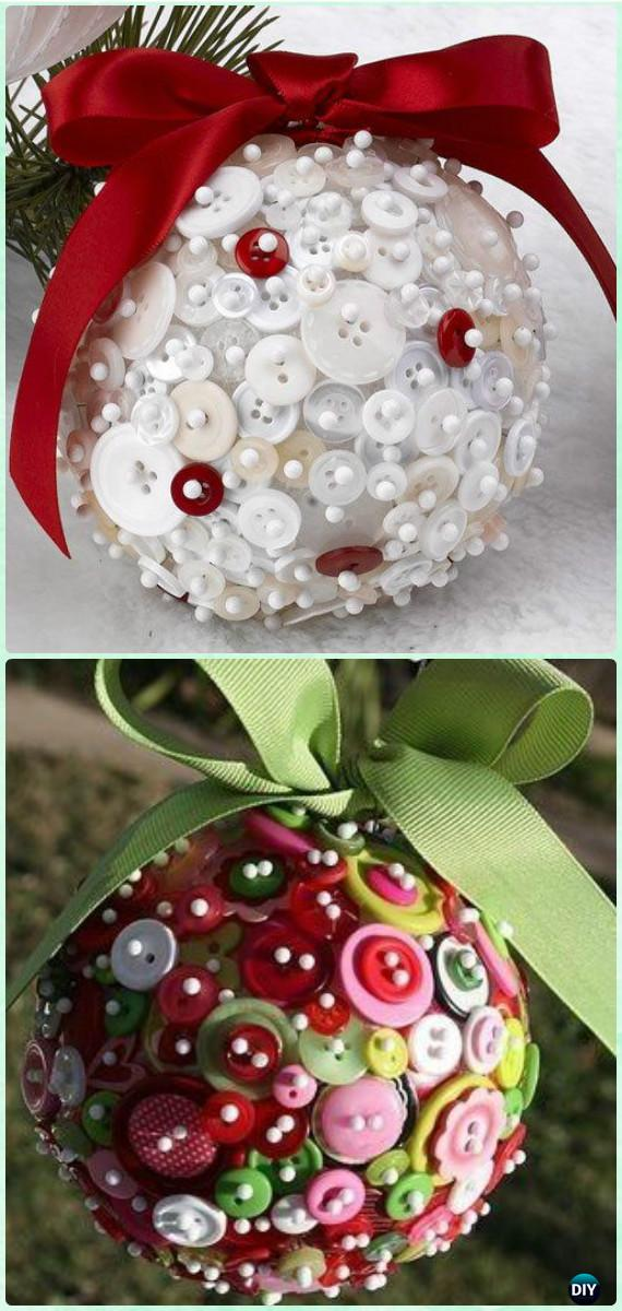 DIY Styrofoam Button Ball Ornaments Instruction Christmas Ornament Craft Ideas For Kids