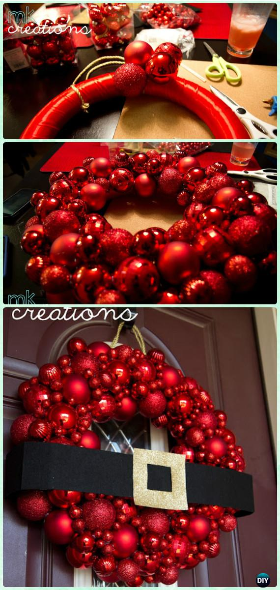 DIY Santa Belt Bauble Ornament Wreath Instructions- Christmas Wreath Craft Ideas Holiday Decoration