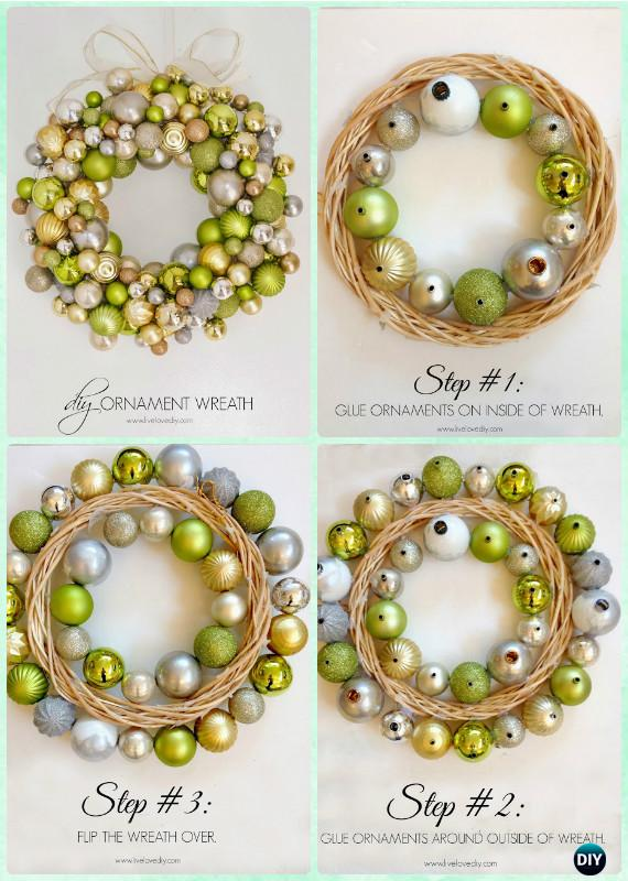 DIY Christmas Ornament Wreath Instructions- Christmas Wreath Craft Ideas Holiday Decoration