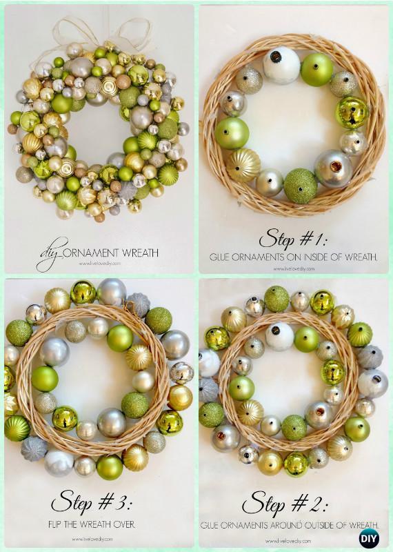 DIY Christmas Ornament Wreath Instructions Craft Ideas Holiday Decoration