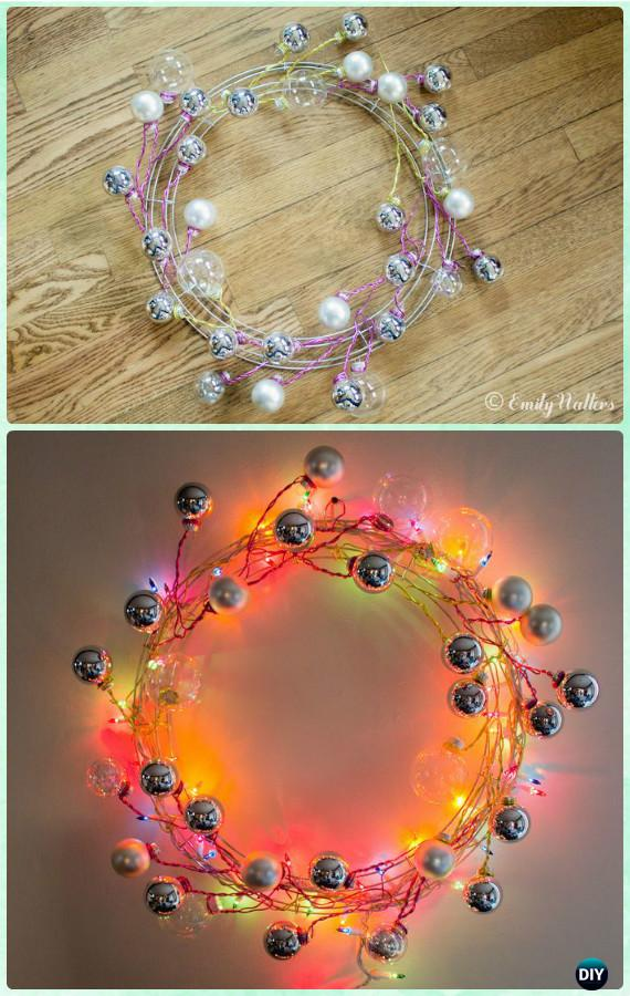 DIY Modern Wire Ornament Wreath Instructions- Christmas Wreath Craft Ideas Holiday Decoration