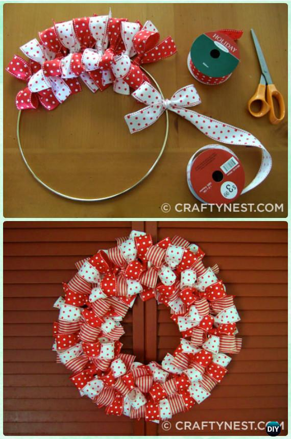DIY Christmas Ribbon Wreath Instructions- Christmas Wreath Craft Ideas Holiday Decoration