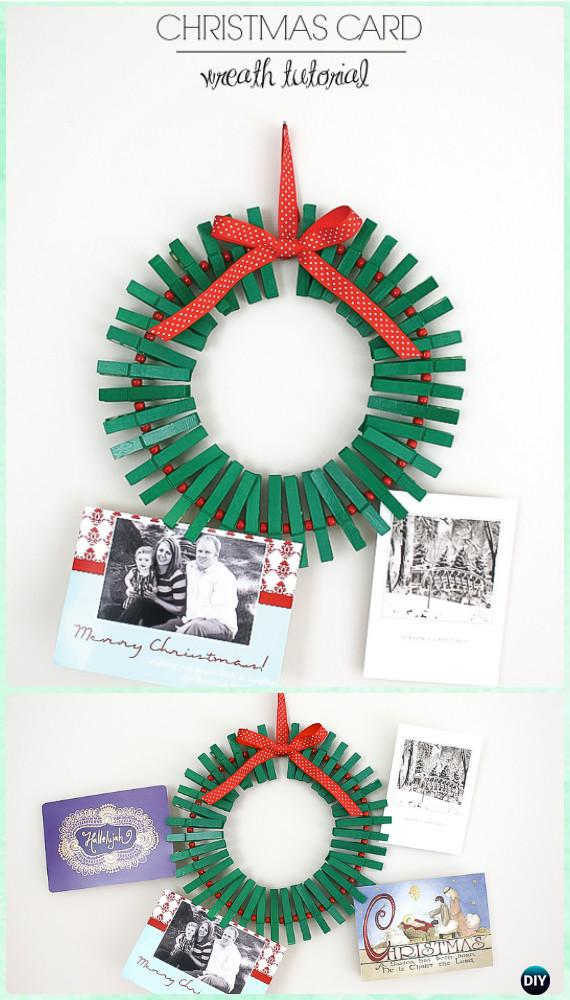 DIY Clothespin Christmas Card Wreath Instructions- Christmas Wreath Craft Ideas Holiday Decoration