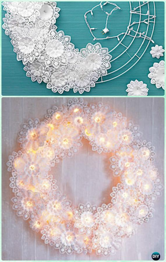 Diy Paper Doily Wreath Instructions Christmas Wreath Craft Ideas