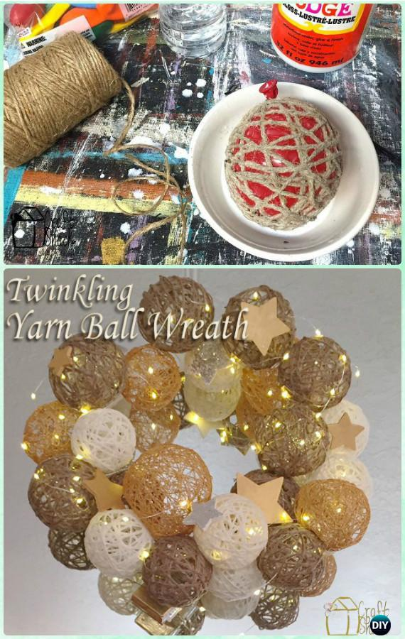 DIY Twinkle Twine Ball Wreath Instructions- Christmas Wreath Craft Ideas Holiday Decoration