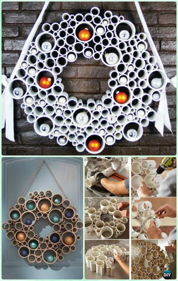 DIY PVC Pipe Wreath Instructions- Christmas Wreath Craft Ideas Holiday Decoration