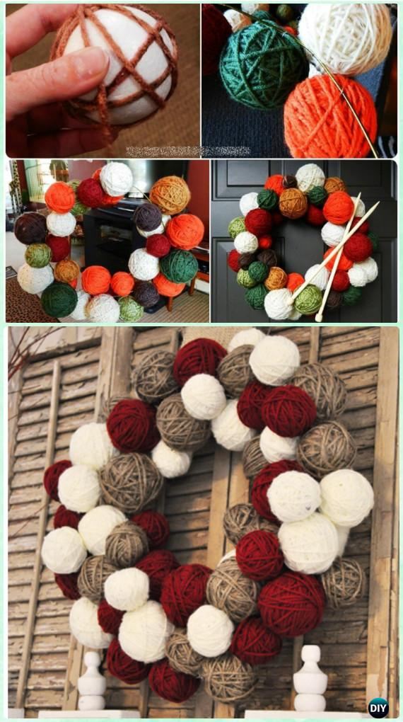 DIY Yarn Ball Wreath Instructions- Christmas Wreath Craft Ideas Holiday Decoration