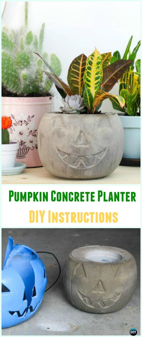 DIY Pumpkin Concrete Planter Instructions- DIY Concrete Planter Ideas #Gardening