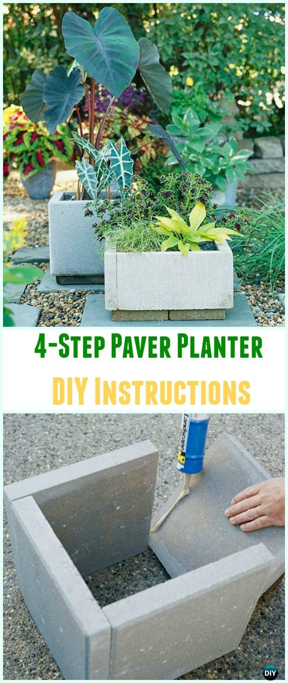 DIY 4-Step Paver Planter Instructions- DIY Concrete Planter Ideas #Gardening