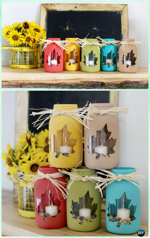 DIY Fall Leaf Mason Jar Candle Holder Instructions