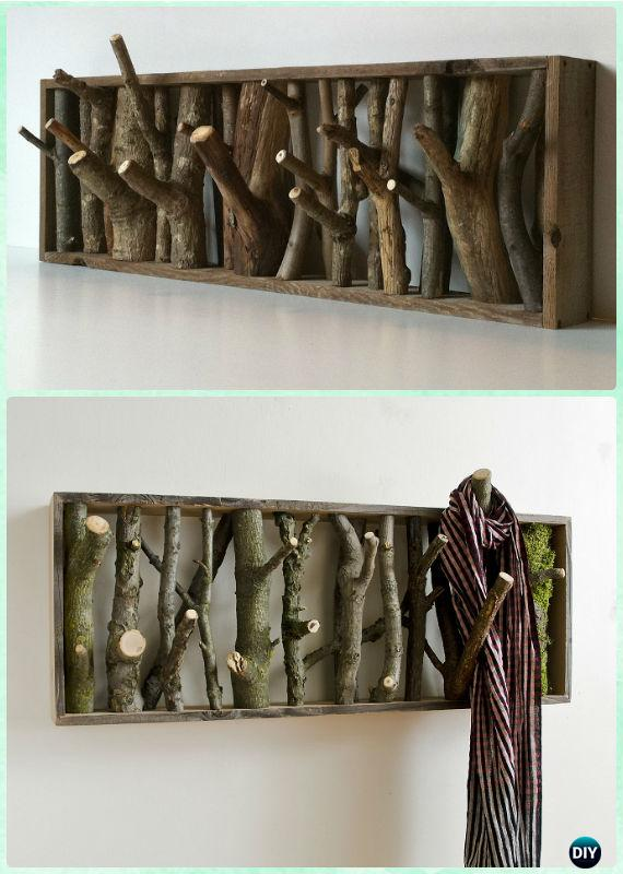 DIY Wood Branch Coat Rack - DIY Craft Projects You Can Make and Sell