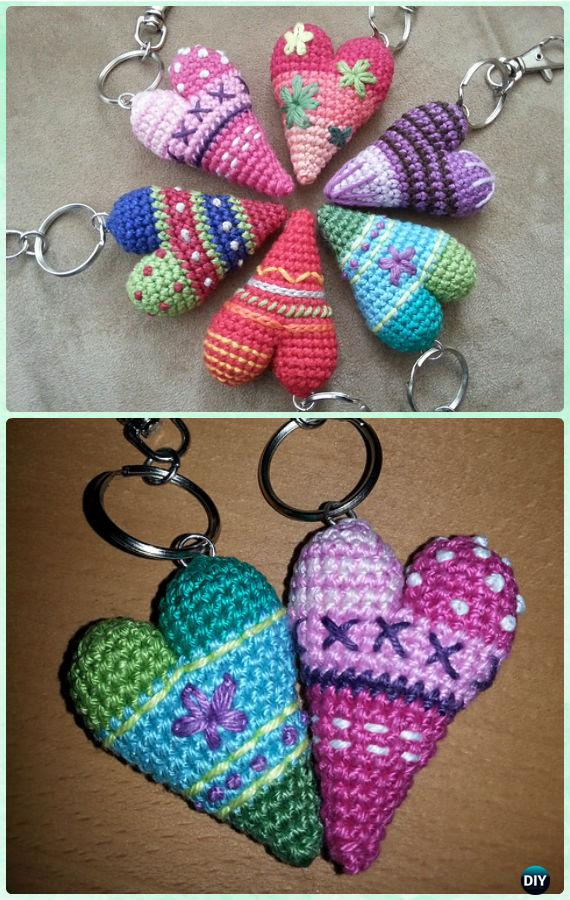 Crochet Heart Keychain Free Pattern- Crochet Heart Free Patterns Instructions
