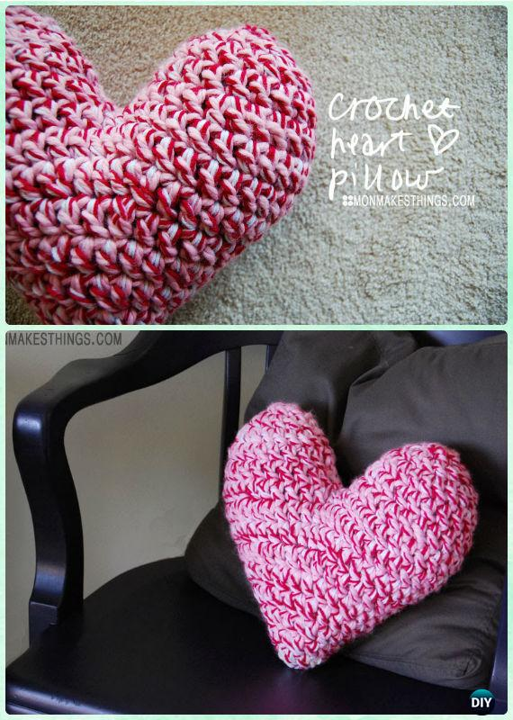 Crochet Heart Pillow Free Pattern- Crochet Heart Free Patterns