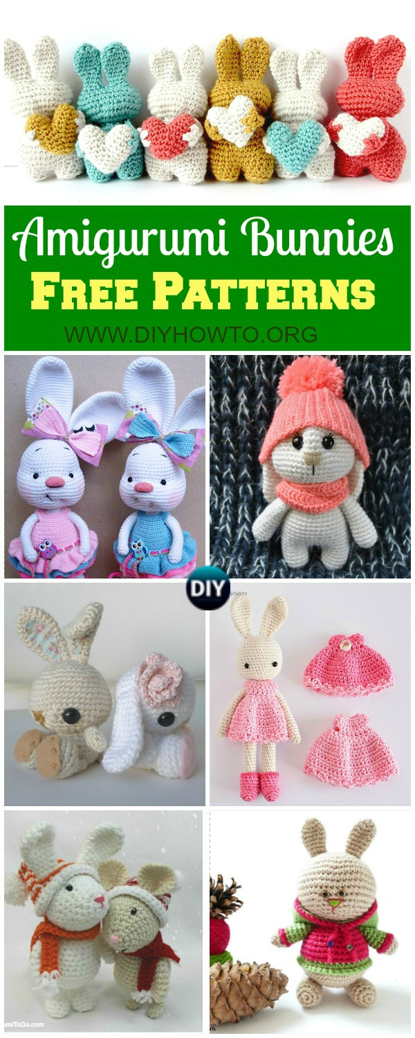 Crochet Easter Bunnies, Amigurumi Bunny Toys, Stuffed Bunny Animal crochet free pattern