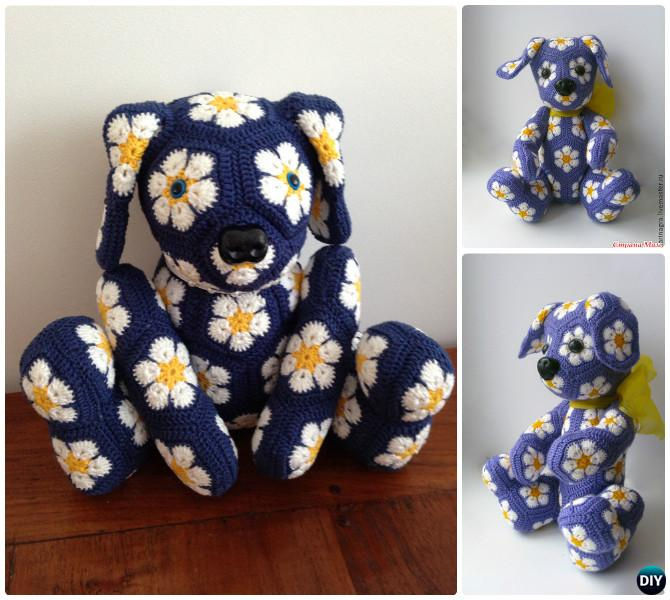 DIY Crochet African Flower Dog Toy Free Pattern--Crochet Amigurumi Puppy Dog Stuffed Toy Patterns
