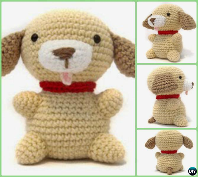 Amigurumi Pug Dog Pattern : DIY Crochet Amigurumi Puppy Dog Stuffed Toy Free Patterns