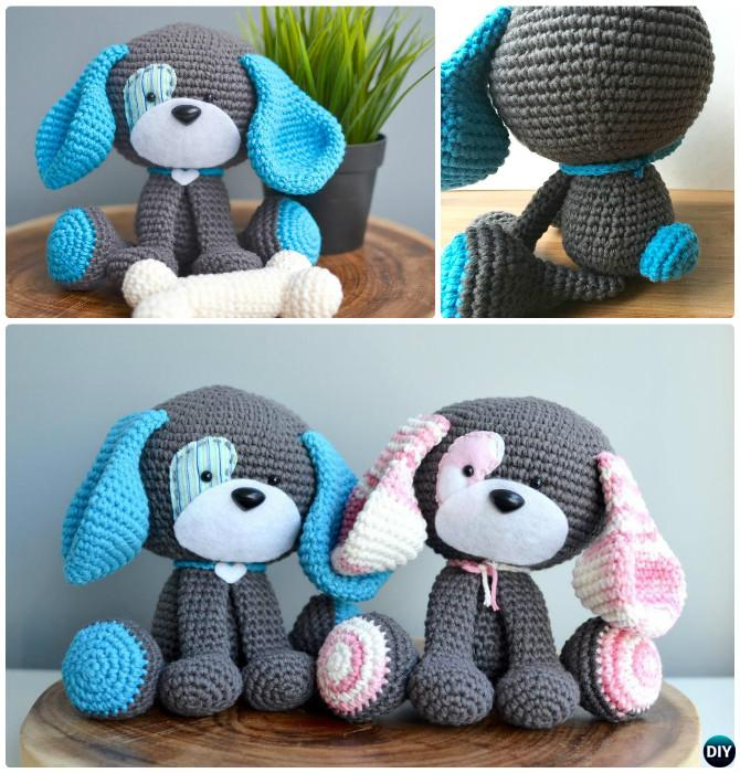 DIY Domino The Dog Amigurumi Crochet Pattern Puppy Stuffed Toy Free Patterns