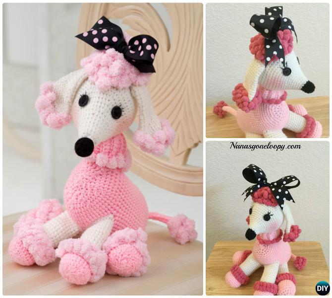 DIY Crochet Pomp-a-Poodle Puppy Toy Free Pattern-- Amigurumi Puppy Dog Stuffed Toy Patterns
