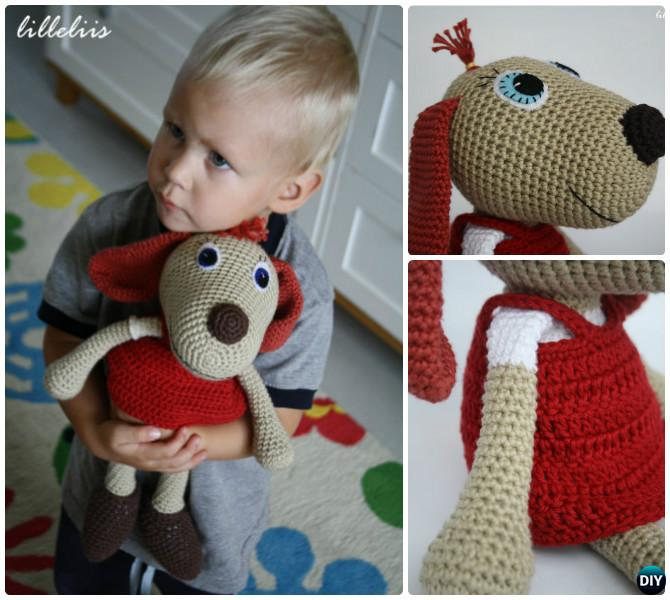 DIY Crochet Lottie Dog Toy Free Pattern-- Amigurumi Puppy Dog Stuffed Toy Patterns