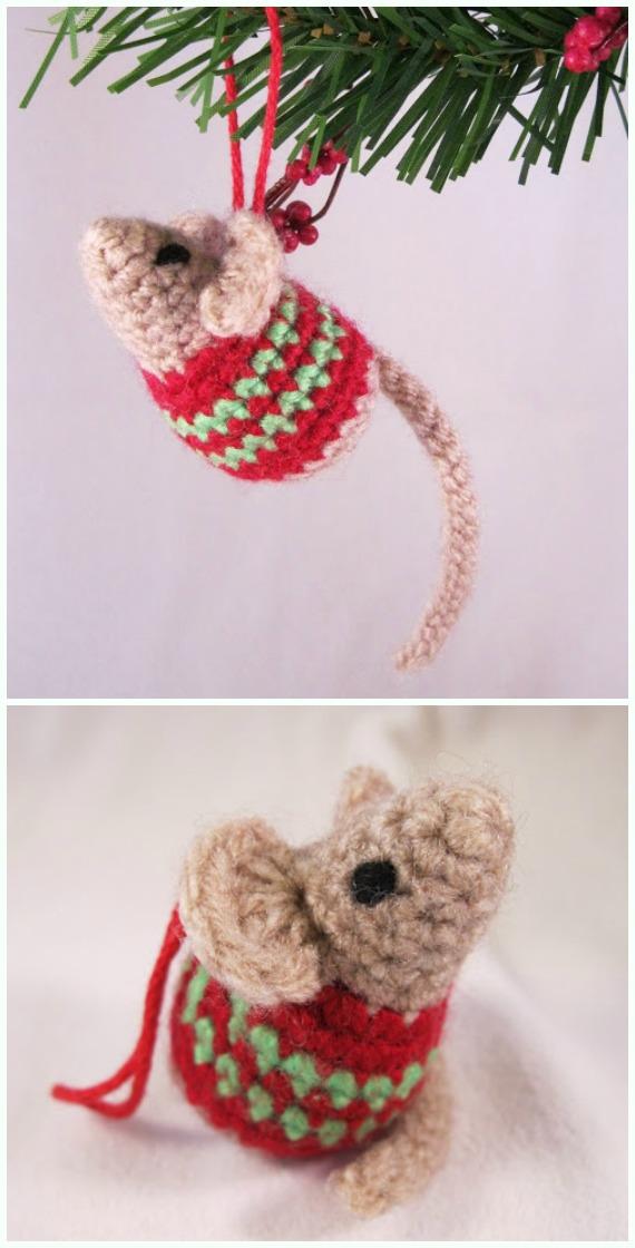 AmigurumiLittle Christmas MouseCrochet Free Pattern -DIY #Crochet; #Christmas; #Ornament; Free Patterns