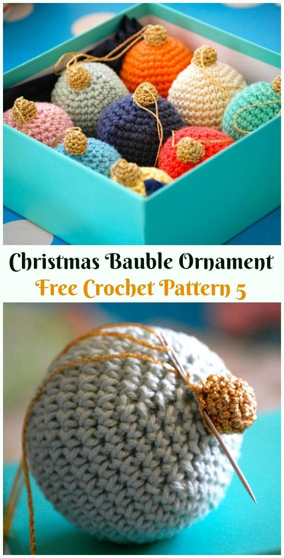 Christmas Bauble Ornament Crochet Free Pattern -DIY #Crochet; #Christmas; #Ornament; Free Patterns