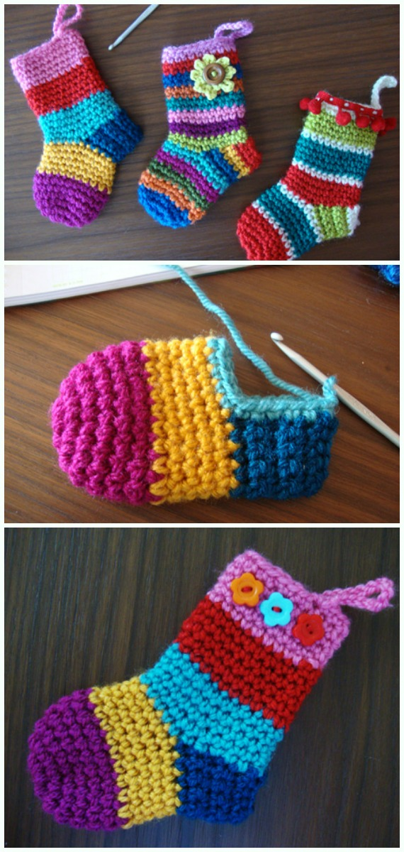 Christmas Socks Ornament Crochet Free Pattern - DIY #Crochet; #Christmas; #Ornament; Free Patterns